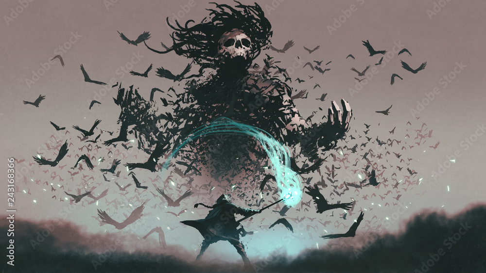 Fototapeta fight scene of the man with magic wizard staff and the devil of crows, digital art style, illustration painting