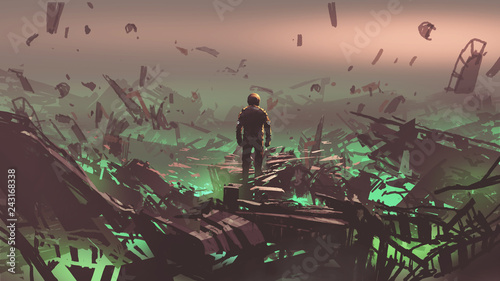 Fotografie, Obraz  the astronaut looking at space junkyard on alien planet, digital art style, illu