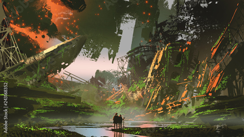 scenery of hikers trekking a river path in overgrown city, digital art style, il Wallpaper Mural