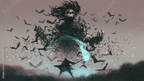 fight scene of the man with magic wizard staff and the devil of crows, digital art style, illustration painting