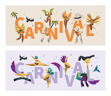 Brazil Feather Costume Carnival Typography Banner Set. Wing Bikini Woman Dance Latino Parade. Man Play Tropical Music For Rio Festival Poster Print Design Flat Cartoon Vector Illustration