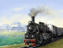 The Old Steam Locomotive Is Dr...