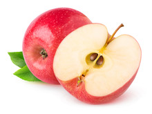 Isolated Apples. Whole Red Apple And A Half Isolated On White Background With Clipping Path