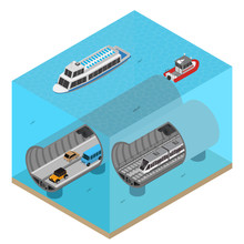 Subway Tunnel Under Water Concept 3d Isometric View. Vector