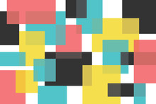 Abstract Background Pattern Made With Rectangle Shapes In Colorful Composition. Modern And Playful Vector Art.