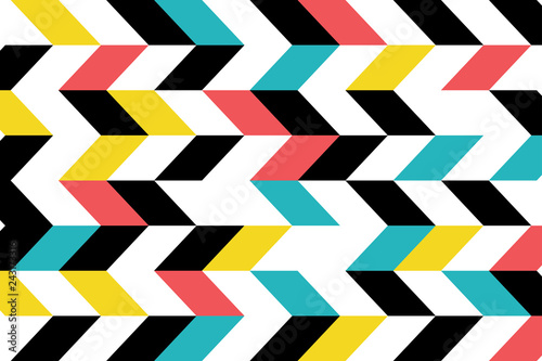 Fototapeta Abstract background pattern made with parallelogram shapes in blue, yellow, red and black colors