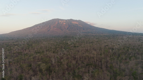 Keuken foto achterwand Grijze traf. low growing tropical forest at foot mountain at sunset. aerial view mountains, forest with trees tropical landscape, Indonesia.