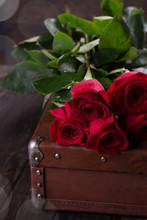 Red Roses On Wooden Planks. Valentines Day Background