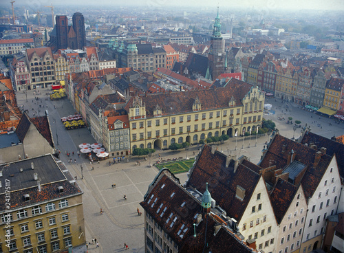 Poster Violet Wroclaw, Poland - September, 2004: view from Wroclaw University's Mathematicians Tower
