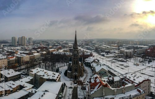 Foto  Church of the Immaculate Conception of the Blessed Virgin Mary in Katowice at sunset