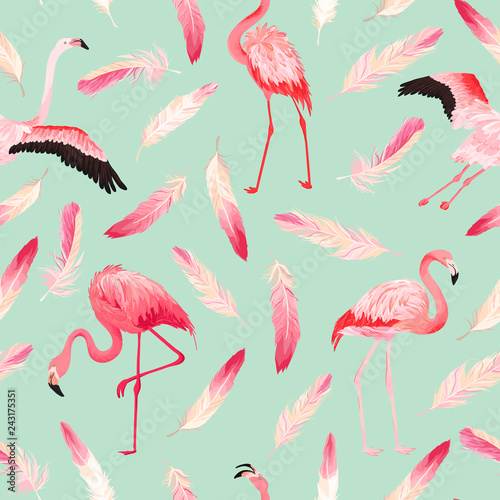 In de dag Flamingo vogel Tropical Flamingo seamless vector summer pattern with pink feathers. Exotic Pink Bird background for wallpapers, web page, texture, textile. Animal Wildlife Design