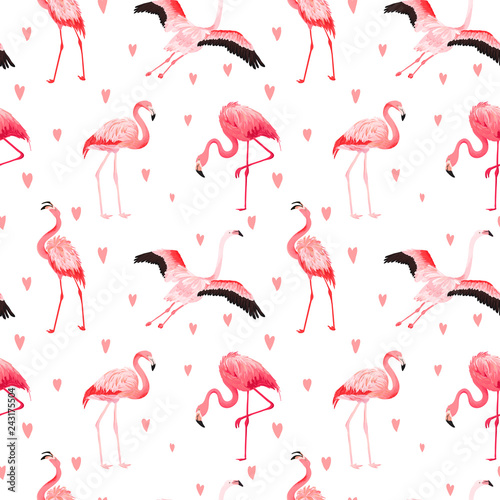 Keuken foto achterwand Flamingo Tropical Flamingo seamless vector summer pattern with hearts. Exotic Pink Bird background for wallpapers, web page, texture, textile. Animal Wildlife Design
