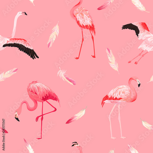 Foto op Plexiglas Flamingo vogel Tropical Flamingo seamless vector summer pattern with pink feathers. Exotic Pink Bird background for wallpapers, web page, texture, textile. Animal Wildlife Design