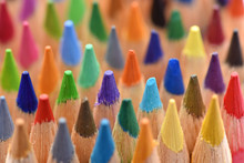 Color Pencils, Macro. Bright Background. Stationery For Drawing.