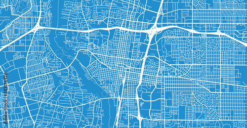 Urban vector city map of Albuquerque, New Mexico, United States of America Canvas Print