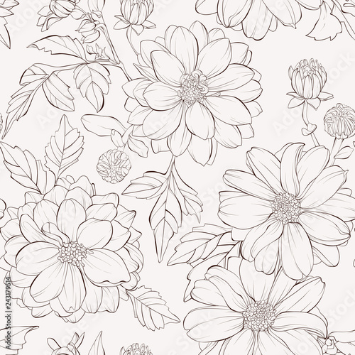 Tableau sur Toile Seamless pattern with dahlia flowers