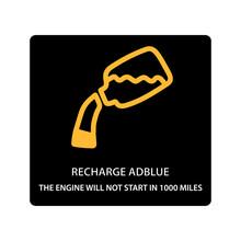 Warning Dashboard Car Icon, Recharge Adblue 1000 Miles