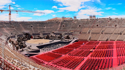 In de dag Theater Inside of Arena of Verona in Italy / Red seats under blue sky in the theater