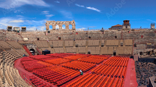 Spoed Foto op Canvas Stadion Inside of Arena of Verona in Italy / Red seats under blue sky in the theater