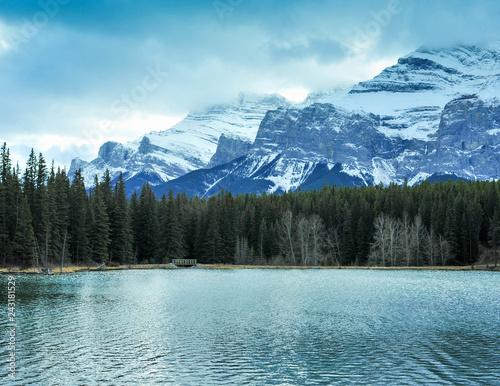 Fotobehang Bergen Backside of Mount Rundle seen from Johnson Lake, Banff Alberta