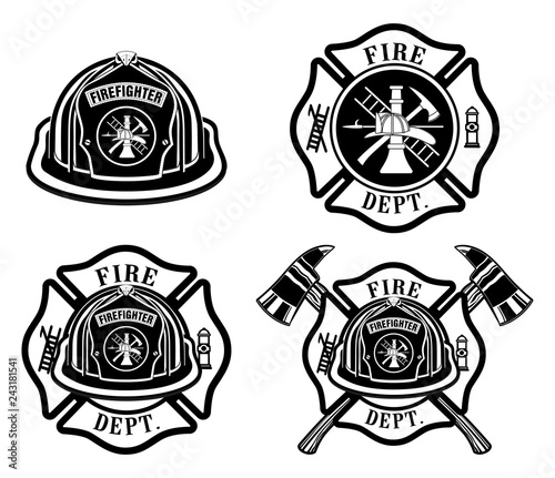 Fire Department Cross and Helmet Designs  is an illustration of four fireman or firefighter Maltese cross design which includes fireman's helmet with badges and firefighter's crossed axes.