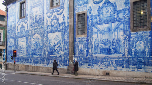 Pavement next to the wall of the Chapel of Souls (Capela das Almas), Porto, Port Canvas Print
