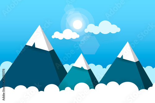 Plakaty do gabinetu three-paper-mountains-in-white-clouds-sunny-day-vector