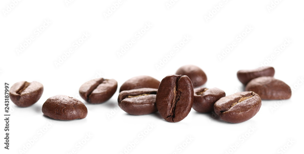 Pile coffee beans isolated on white