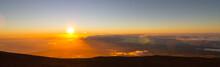 Spectacular Sunset At Haleakala Mountain At The Island Of Maui, Hawaii