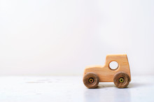 Wooden Car Handmade Toy On Whi...