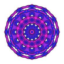 Modern Decorative Floral Color Mandala. Round Shapes. Illustration.