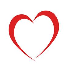 Red Heart Like Love Symbol On White, Stock Vector Illustration Icon
