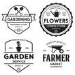 Set of vintage monochrome retro logo, badges, labels, emblems and design elements. Garden shop, service, center, flowers.