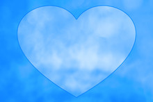 Drawn Heart In Center Of Blue ...