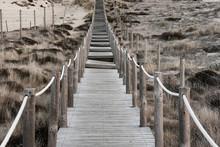 Wood Boardwalk Crossing Grassy Sand Dunes Long Depth Of Field