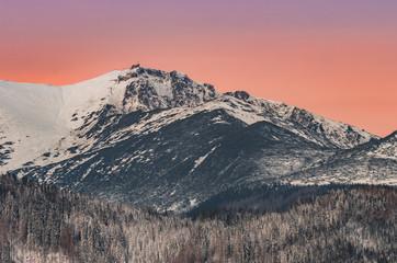 Tatra mountains landscape, winter sunrise over Kasprowy Wierch