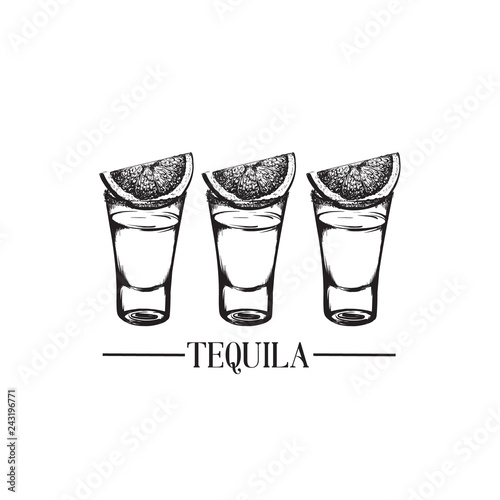 Stampa su Tela Vector illustration of tequila glasses made in hand drawn style