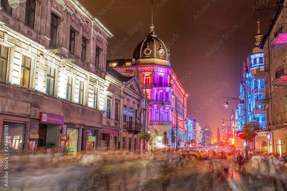Fototapeta Ulica Piotrkowska nocą