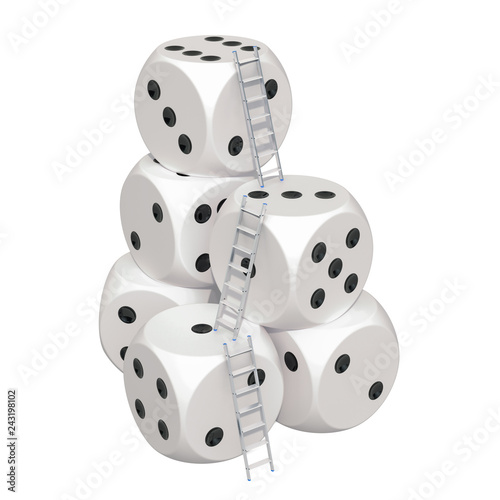 фотография  Gambling Success concept. Stairs with casino dice. 3D rendering