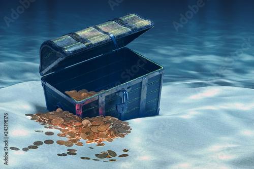 Cuadros en Lienzo Open treasure chest with gold underwater, 3D rendering