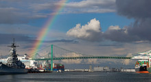 A Rainbow Over The Port Of Los Angeles Main Channel, Battleship Iowa, A Cruise Ship, Container Port Operations And Vincent Thomas Suspension Bridge