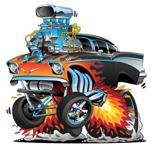 Classic Hot Rod Fifties Style Muscle Car, Flames, Big Engine, Cartoon Vector Illustration