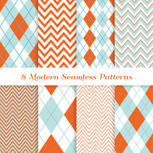 Aqua Blue, Coral Orange, Turquoise And White Argyle And Chevron Seamless Vector Patterns. Modern Easter Backgrounds. Repeating Pattern Tile Swatches Included.