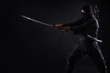 Ninja, samurai warrior on a dark background