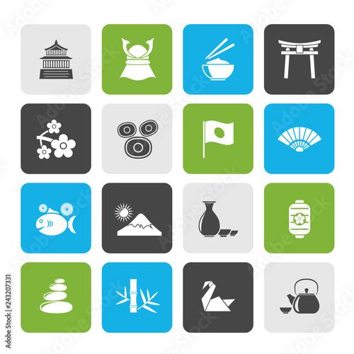 Fotografía  Typical Japan culture icons - vector icon set