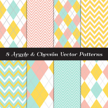 Yellow, Mint, Coral And White Argyle And Chevron Patterns. Modern Easter Backgrounds. Repeating Pattern Tile Swatches Included.