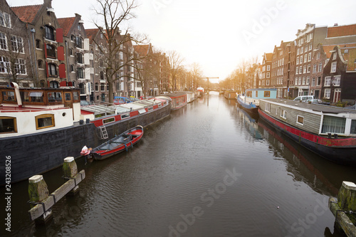 Poster de jardin Europe Méditérranéenne beautiful streets in the amsterdam