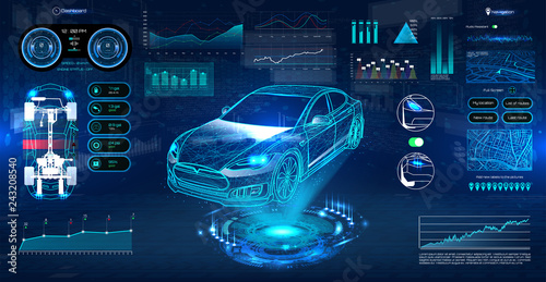 Innovation system diagnostic Auto in HUD UI style. Futuristic car service, scanning and auto data analysis. Car Auto Service, Modern Design, Diagnostic Auto. Virtual Graphical Interface HUD. Vector