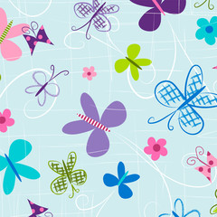 Panel Szklany Do gabinetu lekarskiego/szpitala Butterfly seamless pattern. Repeating pattern for fabric, gift wrap, backgrounds, scrapbook paper, kids apparel and more. Colorful butterflies fly across this all over print. Vector illustration.