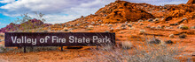 Clark County, NV,USA - January 6, 2019 - The Sign At The North Entrance To Valley Of Fire State Park.
